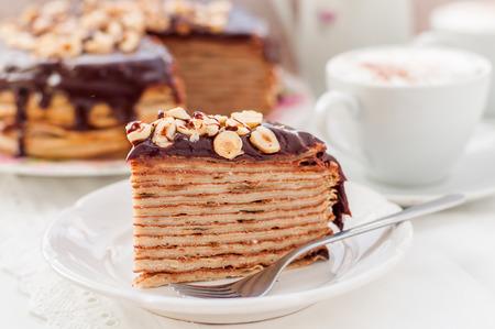 maslenitsa: A Slice of Chocolate, Hazelnut and Cottage Cheese Crepe Cake, Maslenitsa Stock Photo