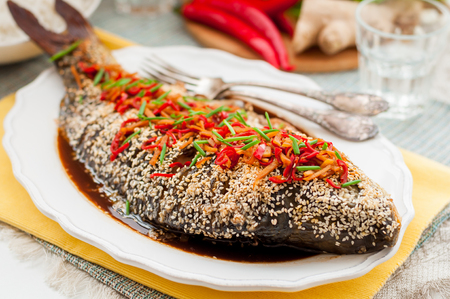 mirror carp: Asian Style Baked Sesame Seed Crusted Fish With Chili, Ginger and Soy Sauce Dressing
