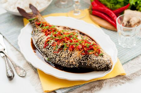 fish sauce: Asian Style Baked Sesame Seed Crusted Fish With Chili, Ginger and Soy Sauce Dressing