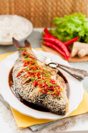 mirror carp: Asian Style Baked Sesame Seed Crusted Fish With Chili, Ginger and Soy Sauce Dressing, copy space for your text