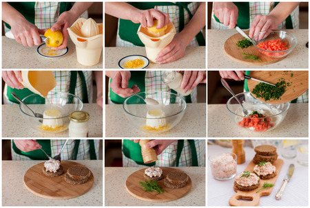 A Step by Step Collage of Making Smoked Salmon, Cream Cheese, Dill and Horseradish Pate
