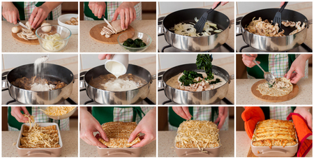 A Step by Step Collage of Making Chicken, Spinach and Mushroom Crepe Bake