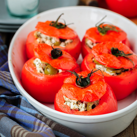 olive green: Cheese and Green Olive Stuffed Tomatoes, square