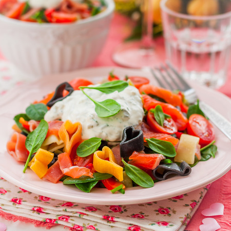 pasta salad: Salmon and Heart Shaped Pasta Salad with Creamy Dressing for Valentines Day, square Stock Photo