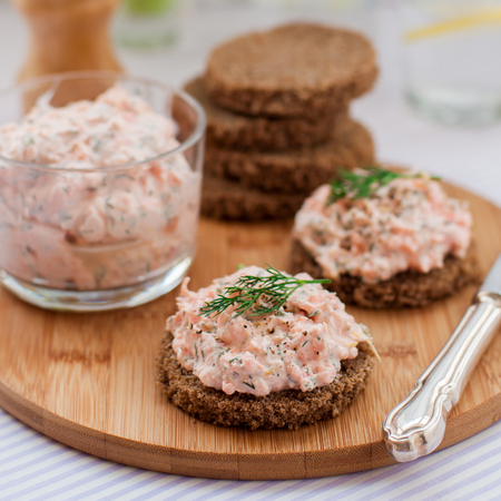 Smoked Salmon, Cream Cheese, Dill and Horseradish Pate on Rye Bread Slices, square Stock Photo