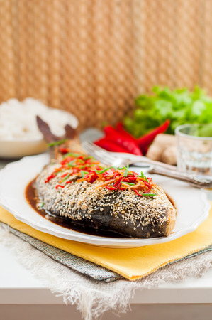 crusted: Asian Style Baked Sesame Seed Crusted Fish With Chili, Ginger and Soy Sauce Dressing, copy space for your text