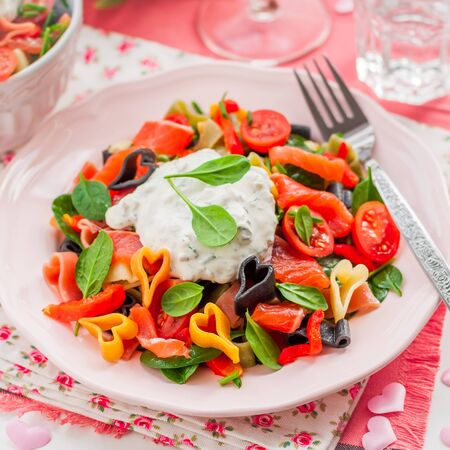 pasta salad: Salmon and Heart Shaped Pasta Salad with Creamy Dressing for Valentines Day