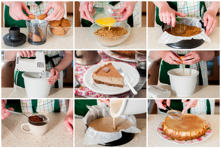 quark: A Step by Step Collage of Making Spiced Coffee Quark Cheesecake