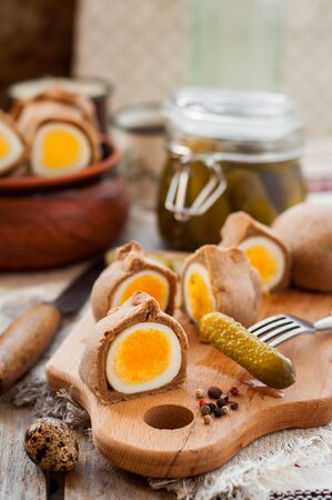 hard boiled: Kokurki, Rye Dough Wrapped Hard Boiled Eggs with Pickles, copy space for your text