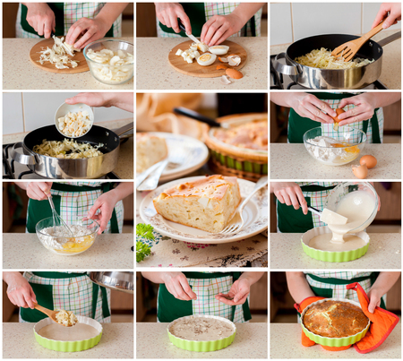 easy: A Step by Step Collage of Making Easy Cabbage, Egg and Cumin Pie