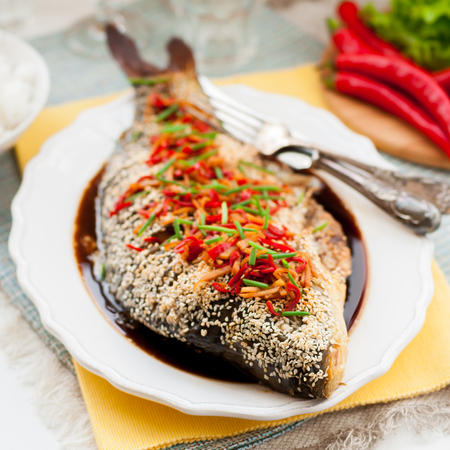 mirror carp: Asian Style Baked Sesame Seed Crusted Fish With Chili, Ginger and Soy Sauce Dressing, square