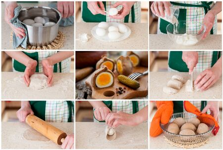 hard boiled: A Step by Step Collage of Making Kokurki, Rye Dough Wrapped Hard Boiled Eggs Stock Photo