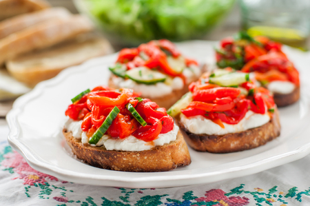 Roasted Red Sweet Pepper, Cucumber and Feta Bruschetta