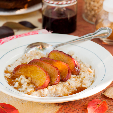 Creamy Vanilla Oat Porridge with Honey Caramel Apples, square
