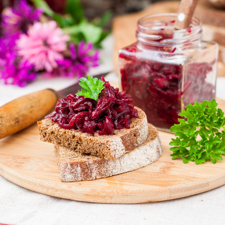 Marinated Beetroot Relish Preserves on Rye Toast, square