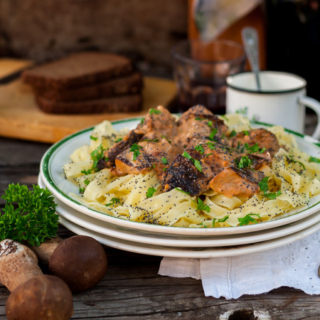 Tagliatelle Pasta with Beef Meatballs, Wild Mushrooms and Poppy Seeds, square