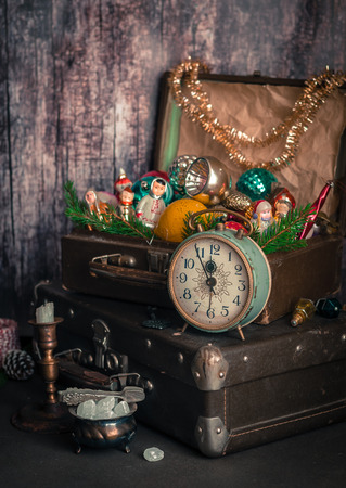 old fashioned christmas: Retro Alarm Clock, Vitage Leather Suitcases, Old Fashioned Christmas Tree Decorations, copy space for your text