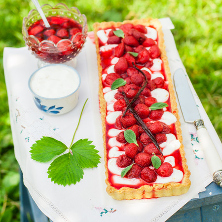 Orange Curd Tart with Vanilla Roasted Strawberries on a Step Stool, square