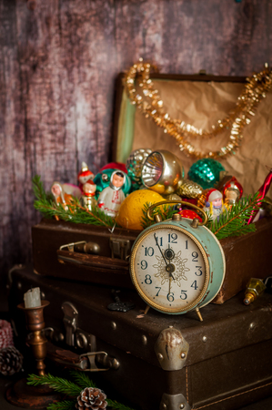 old fashioned christmas: Retro Alarm Clock, Vintage Leather Suitcases, Old Fashioned Christmas Tree Decorations, copy space for your text