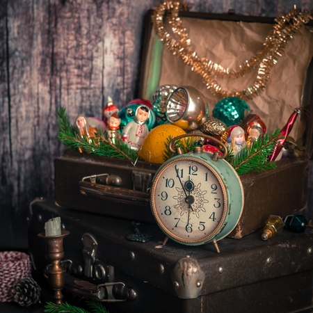 old fashioned christmas: Retro Alarm Clock, Vintage Leather Suitcases, Old Fashioned Christmas Tree Decorations, square Stock Photo