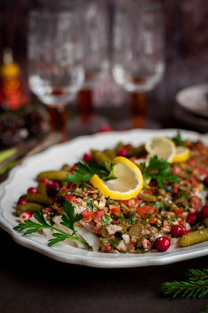 Baked Tomato, Herb, Walnut and Gherkin Cod Fish, copy space for your text Stock Photo