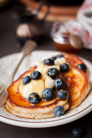 comfort food: Fluffy Wholemeal Pancakes with Mascarpone, Honey and Fresh Blueberries, copy space for your text
