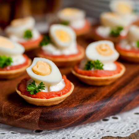 Little Tarts of Smoked Salmon, Cottage Cheese and Quail Egg, square