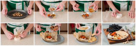 sultanas: A Step by Step Collage of Making Dried Fruit (Apricots, Cranberries and Sultanas), Walnut and Honey Baked Brie