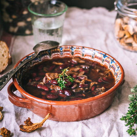 Dried Wild Mushroom and Kidney Bean Soup, square