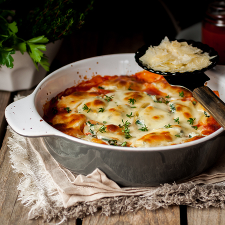 Baked Stuffed Conchiglioni with Tomato Sauce, square