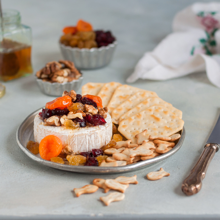 Dried Fruit (Apricots, Cranberries and Sultanas), Walnut and Honey Baked Brie with Crackers, square