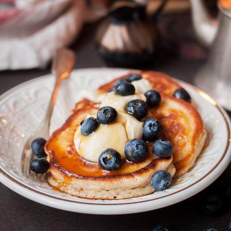 Fluffy Wholemeal Pancakes with Mascarpone and Fresh Blueberries, Burning Candle, square