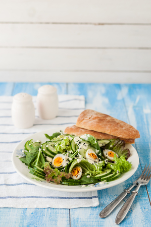 quail: Quail Egg Salad with Mixed Salad Leaves, Cucumber, Curry Yogurt Dressing and Black Sesame Seeds Foto de archivo