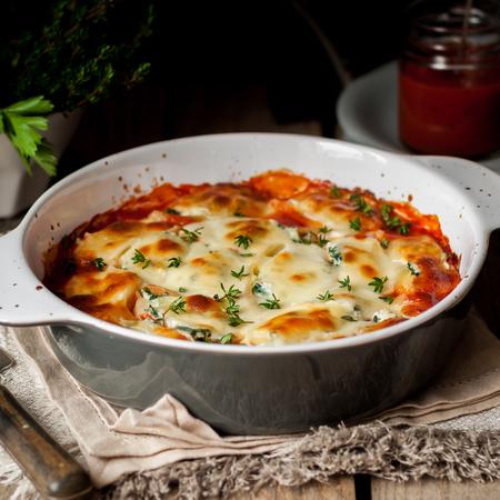 Baked Stuffed Conchiglioni with Tomato Sauce, square