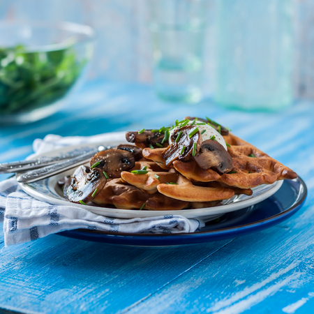 Potato Waffles with Mushrooms, Sour Cream and Chives, square Stock Photo