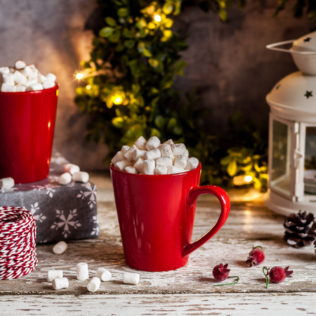christmas hot chocolate with marshmallows in red mugs square stock photo 89511652 - Christmas Marshmallows