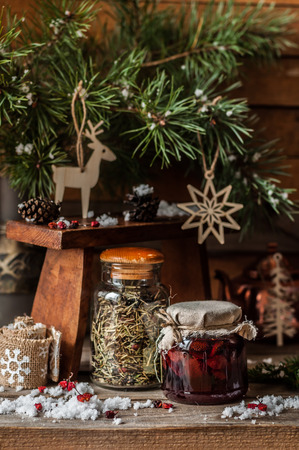 Strawberry Jam with Cedar and Herb Tea for Christmas, copy space for your text