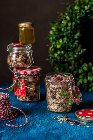Nut, Seed and Cranberry Granola as a Christmas Gift, copy space for your text