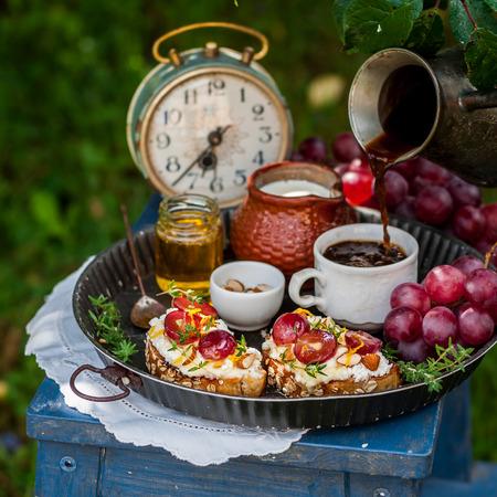Grape and Ricotta Bruschetta Served for Breakfast, square
