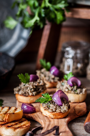 Mushroom Spread with Red Onion on Toasts, copy space for your text