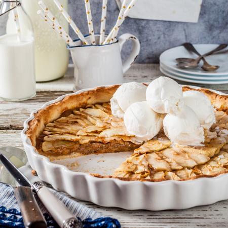Sliced Round Toffee Apple Tart with Vanilla Ice Cream, square