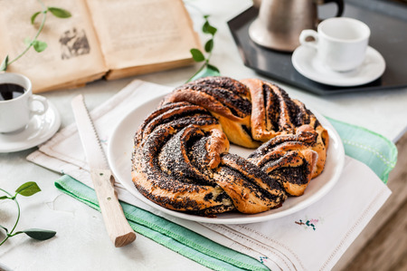 Braided Babka Brioche Wreath with Poppy Seed Filling