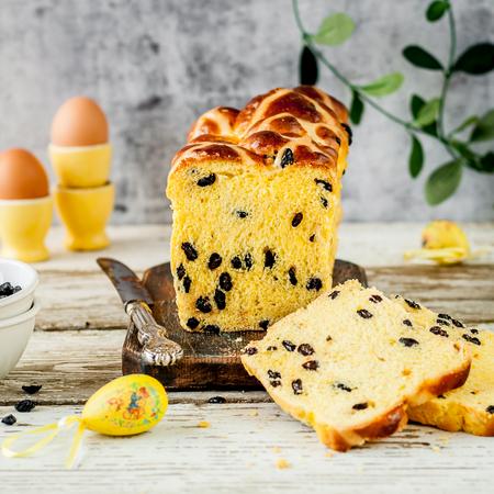 Easter Saffron Hot Cross Bun Loaf with Raisins, square