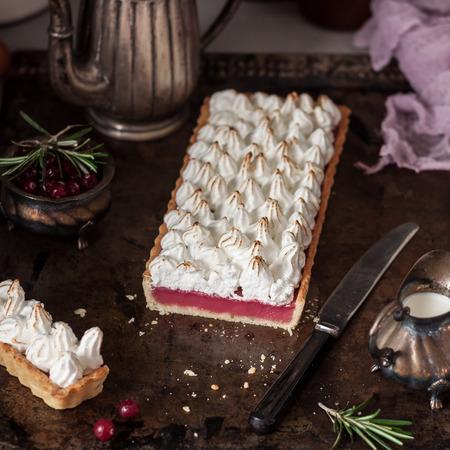 Rectangular Cranberry and Rosemary Caramelized Meringue Tart, square 写真素材
