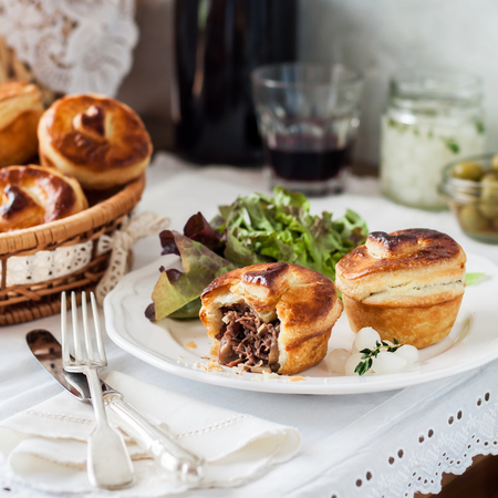 Individual Puff Pastry Meat Pies with Beef Filling, square