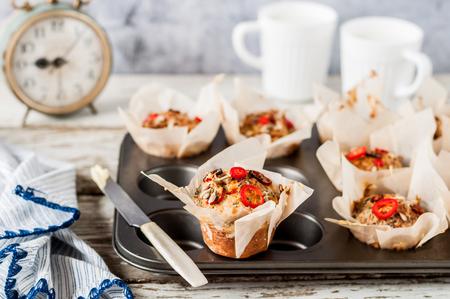 Savoury Potato Muffins with Chili, Poppy and Sunflower Seeds