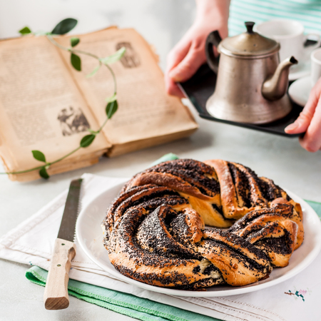 Braided Babka Brioche Wreath with Poppy Seed Filling, square Stock Photo