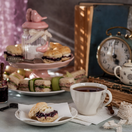 English Afternoon Tea with Scones and Sandwiches, Five OClock, square