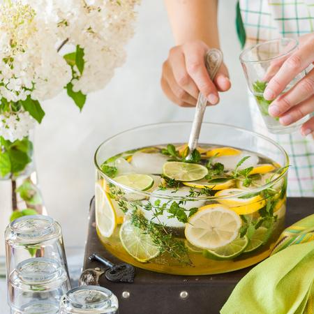 Fresh Lemon, Lime, Thyme and Melissa Lemonade, square 스톡 콘텐츠