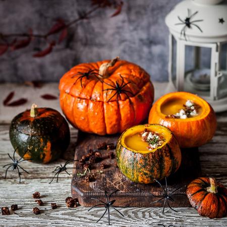 Halloween Pumpkin Cream Soup in Hollowed Pumpkin Bowls, square